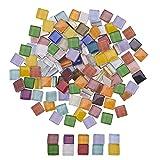 PandaHall 280pcs Bunte Mosaik-Fliesen-quadratische Glasmosaik-Stück-Chips für DIY Fertigkeiten, Platten, Bilderrahmen, Blumentöpfe, handgemachter Schmuck