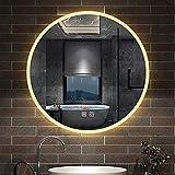 AicaSanitär LED Spiegel RUND 60cm 2 Lichtfarbe Kalt/Warmweiß dimmbar Touch Beschlagfrei Badezimmerspiegel Dekorative Wandspiegel 2700K-6500K