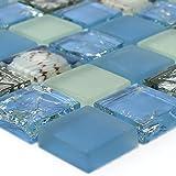 Glas Mosaik Fliesen Muschel Blau Mix
