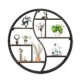 OUKANING Vintage Rundes Wandregal,Holz und schwarzem Metall Runde Metall Storage Rack Regale Aufbewahrung Wanddeko Ø 80cm x 12cm für Wohnzimmer und Flur, Industrie Design (80cm)