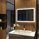 Meykoers Wandspiegel Badezimmerspiegel LED Badspiegel mit Beleuchtung 50x70cm Spiegel mit Touch-Schalter und Beschlagfrei, Lichtspiegel Dimmbar Warmweiß/Kaltweiß/Neutral 3000K-6400K