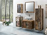 Woodkings® Bad Set Kalkutta 5teilig recyceltes Holz rustikal Mehrfarbig Badmöbel Badschrank Badezimmer Komplettset Echtholz (ohne Fuß)