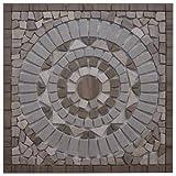 Marmor Rosone 60x60 cm Grau Beige Naturstein Mosaik Einleger Fliesen 60115