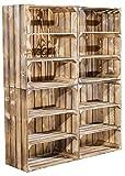 Vintage-Möbel24 GmbH 4er Set hohe Regalkiste mit 2 Böden *geflammt* 61x50x31cm