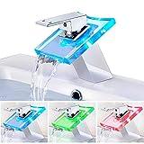 ROVATE RBG LED-Glas-Wasserhahn, 3 Farben Licht, Wasserfall, Einhandgriff, Einloch-Mischarmatur, poliertes Chrom