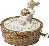 """Villeroy und Boch Bunny Family Spieluhr """"Körbchen"""", 10 x 10 x 10 cm, Porzellan, Weiß/Bunt"""