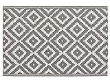 Beliani Outdoor Teppich Grau Geometrisches Muster 120 x 180 cm Hapur