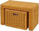 Stabile Sitzbank Flur aus echtem Rattan/Bad-Hocker Sitz-Bank Natur-Rattan/schmales Bett Bänkchen Schlafzimmer mit Korb Box zur Aufbewahrung Stauraum (Honig, 60cm mit Schub)