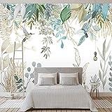 Foto Tapete Moderne handgemalte Tropische Pflanze Blätter Blumen Und Vögel Wandbilder Wohnzimmer Schlafzimmer Wasserdichte Wand Malerei