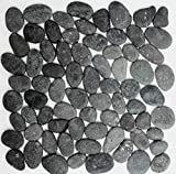 Mosaik Fliese Flußkiesel Steinkiesel Kiesel gewölbt dunkelgrau MOS30-0208