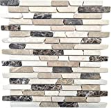 Mosaik Fliese Marmor Naturstein beige braun Brick Castanao Biancone MOS40-0195
