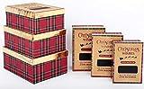 BRAVICH Geschenkboxen für Weihnachten, 6 Stück, mit Deckeln, Shirt, Schuh, Kuchen, Kuchen, Heiligabend, rechteckig, von 26 cm bis 36 cm 6-teiliges Tartan-Set