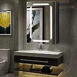 Warmiehomy Moderner Badezimmer-Spiegelschrank mit LED-Beleuchtung, Badezimmerspiegel mit Touch-Schalter, Rasierersteckdose und verstellbarem Licht, 70 x 50 cm