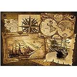 Vlies Fototapete PREMIUM PLUS Wand Foto Tapete Wand Bild Vliestapete - Geografie Karte Schiff Vintage Kompass - no. 1861, Größe:152.5x104cm Vlies