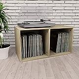 vidaXL Vinyl Aufbewahrungsbox mit 2 Fächern Box Aufbewahrung Kasten LP Schallplatten Sammlung Regal Transportbox Sonoma-Eiche 71x34x36cm Spanplatte