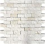 Mosaik Fliese Kalkstein Naturstein weiß Brick Splitface Colonial Limestone 3D MOS29-49248