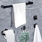 Temgin Handtuchhalter 5-Stuck Badezimmer Zubehör Set Schwarz Matt Edelstahl Badetuchhalter 40CM Ideal für Küche Bad Waschbecken