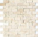 Mosaik Fliese Travertin Naturstein beige Brick Splitface Chiaro Travertin 3D MOS43-46248