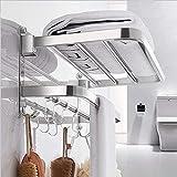 DDS-DUDES Handtuchhalter für Badezimmer mit Ablage über der Tür Handtuchhalter für Badezimmer Wandmontage Edelstahl stanzfrei selbstklebend Handtuchhalter Halter mit 5 Handtuchhalter Haken