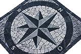Marmor Rosone 60x60 cm Kompass Naturstein Windrose Mosaik Fliesen Einleger 014