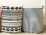 Demarkt Wäschekörbe Wäschesack Wäschesammler Streifen Geometrische Bilder Baumwolle und Leinen