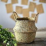Carry stone Seagrass Korbwaren Rattan Faltbare hängende Blume Topf Pflanzer gewebt schmutzige Wäschekorb Ablagekorb Home Decor hängenden Korb