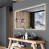 Alasta Spiegel | Boston Badspiegel 100x80cm mit LED Beleuchtung | LED Farbe Weiß Warm | LED Spiegel