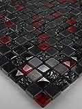Bador Glasmosaik Mosaik marmoriert Fliesen Mosaikfliesen Glasfliesen Glas Schwarz Rot Grau 30x30 Neu