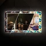 Artforma - 100x90 cm - Design Effekt Spiegel Wandspiegel mit LED Beleuchtung | Spiegel mit Lichtschalter - Badspiegel dekorativer - Individuell Nach Maß