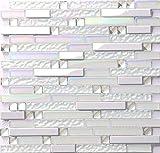 Hominter 11 Blatt Glas und Metall Fliesen Schillernd Weiß und Silber Spiegel Edelstahl Linear Wandfliese Backsplash Fliesen für Küche und Bad NB01