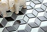 10x10cm Muster. Glas Mosaik Fliesen Muster in Schwarz und Weiß mit 3D Optik MT0083 Muster