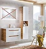 naka24 Badmöbel Set ''Aruba-Weiss/Eiche 80 Badmöbel Set mit Waschbecken Badmöbelset LED (Waschtisch Hochschrank)