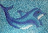 Mosaik Bild Glas hellblau blau Bild Delphin papierverklebt 1.600x1.100mm MOSMB-Delphin_gross