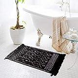 hi-home Boho Teppich, Baumwolle Gewebte Teppiche Waschbar Läufer Badteppich mit Quasten für Schlafzimmer Eingangstür Küche Badezimmer 60x90cm(Schwarz)