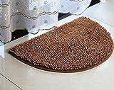Gkmezmke Duschvorleger RutschfestAntibakteriell Badvorleger AbsorbentMicrofaser Chenille halbkreisförmige Wasseraufnahme rutschfest weich, Bad Bad Schlafzimmer Matte 40X80CM, Kaffee