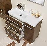 Quentis Badmöbel Genua, Breite 90 cm, Holzdkor antik, Unterschrank mit 3 Schubladen und 1 Türe, Softeinzug, Waschbeckenunterschrank montiert
