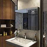 Meykoers Spiegelschrank 85x65cm Spiegelschrank Badezimmerspiegelschrank mit doppelseitigem Spiegel Doppeltür Spiegelschrank Bad verstellbares Regal Grau Einfach zu montieren