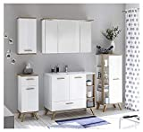Pelipal - NOVENTA 15 - Badmöbel-Set - 101 cm - Badset 6-teilig auf Füßen stehend mit Spiegelschrank Mineralmarmor-Waschtisch usw. in weiß Glanz/Eiche Riviera