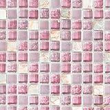 Mosaik Fliese Transluzent rosa Glasmosaik Crystal Stein rosa für WAND BAD WC DUSCHE KÜCHE FLIESENSPIEGEL THEKENVERKLEIDUNG BADEWANNENVERKLEIDUNG Mosaikmatte Mosaikplatte
