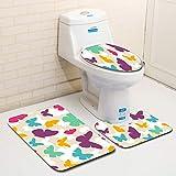 MANNUOSI rutschfest badteppich Set,wc Teppich Set 3er-Pack Badteppiche Set U-Form konturiert badematten & badteppiche Teppiche Deckelabdeckung(Schmetterling)