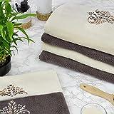 Zwoltex 6-teiliges Handtuch-Set aus ägyptischer Baumwolle, hergestellt in der EU, Badetuch für Gesicht und Gäste, in Geschenkverpackung, Komplett-Set (Creme und Schokolade)