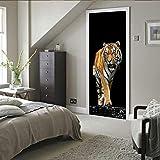 3D Türtapete Selbstklebend Tiger TürPoster Fototapete Türfolie Poster Tapete Abnehmbar Wasserdicht PVC Wandaufkleber Wandtapete für Wohnzimmer Schlafzimmer Dekoration 77X200cm