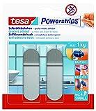 tesa Powerstrips Haken Small Metall - Selbstklebender Wandhaken für Glas, Kacheln, Holz, Kunststoff und andere Untergründe - Metall