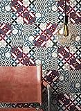 NEWROOM Tapete Rot Vliestapete Fliesen - Fliesentapete Orientalisch Blau Grau Mosaik Kacheln Fliesenoptik Grafisch Beton-Optik Mustertapete inkl. Tapezier-Ratgeber