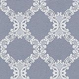 Barock-Tapete Ornament-Tapete Tapeten Wohnzimmer Blau Grau Vliestapete Blau Grau   Jetzt Tapeten kaufen
