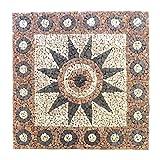 Divero HF55578 Fliesen Rosone Blume Naturstein Mosaik Marmor dekorativ grau-rosé 120 x 120 cm, rose creme