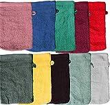 Unbekannt 10 Stück Waschhandschuh Frottier, Borde, Uni/einfarbig, ca. 16x21cm, Waschlappen, Frottee, 100% Baumwolle (Sortiert-Borde)