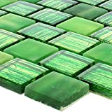 Glasmosaik Fliesen Lanzarote Grün Gestreift 8mm