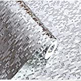9 Meter 3D Retro Mosaik Dreidimensional PVC Fototapete Top Tapete Wandbilder Bild Tapeten Wand (Silber)