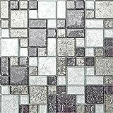 Glas Mosaik Fliesen Matte Schwarz und Silber mit Steinen in Drei Größen (MT0044) 30cm x 30cm
